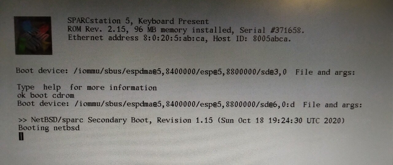 ...SS5 booting NetBSD from CD