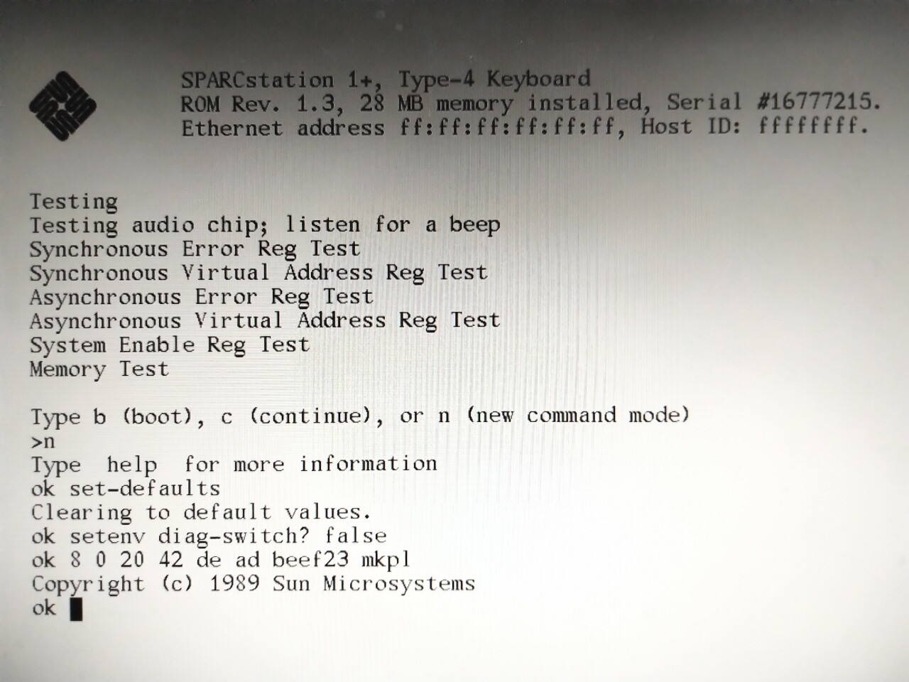quick IDPROM rewrite using mkpl on a Sparcstation 1+